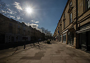 25th February 2021. Cheltenham's Montpellier shopping district virtually empty at Saturday lunchtime during the third national lockdown in cheltenham High Street.