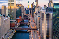 Aerial view of empty streets due to the corona virus pandemic at Chicago, United States.
