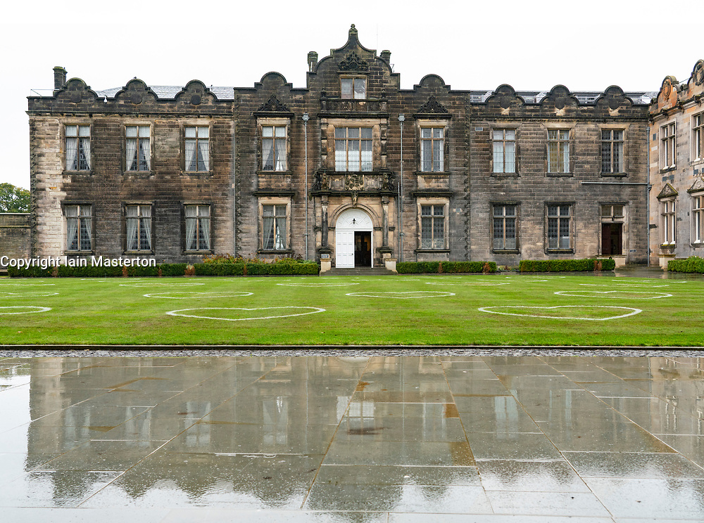St Andrews, Scotland, UK. 30 September, 2020. Students in halls of residence at St Andrews University have been told that they can leave for home without financial penalty. The Scottish Government controversially told students in Scotland  to self-isolate in their rooms following localised outbreaks of Covid-19 amongst students.. Pictured; St Salvator's Quad at the university. Iain Masterton/Alamy Live News