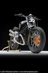 """""""Maxx Headroom"""", a custom BMW RnineT Pure built by Dan Riley of Gunn Design in Burnsville, MN. Photographed by Michael Lichter in Sturgis, SD on August 1 2017. ©2017 Michael Lichter."""