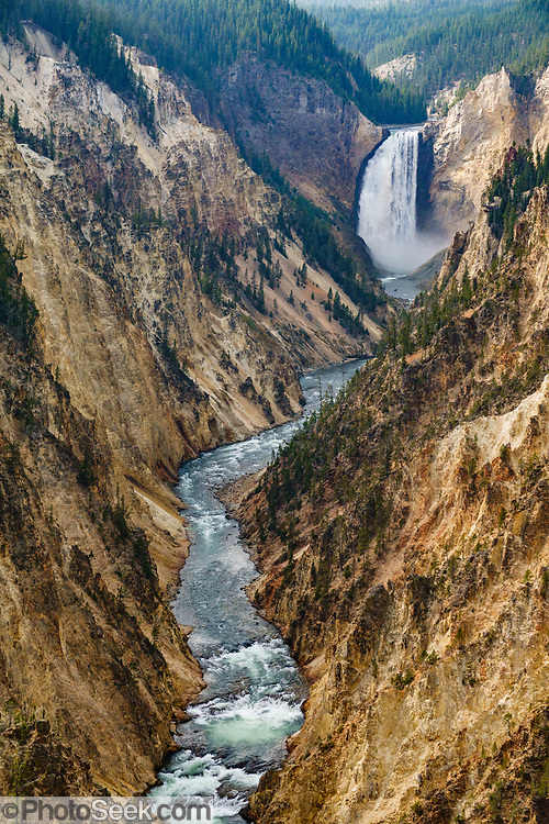 Lower Yellowstone Falls seen from Artist Point on South Rim Trail. The Yellowstone River flows through the Grand Canyon of the Yellowstone in Yellowstone National Park, in Wyoming, USA. Yellowstone River is a major tributary of the Missouri River. Yellowstone was established as the world's first national park in 1872 and was listed by UNESCO as a World Heritage site in 1978.