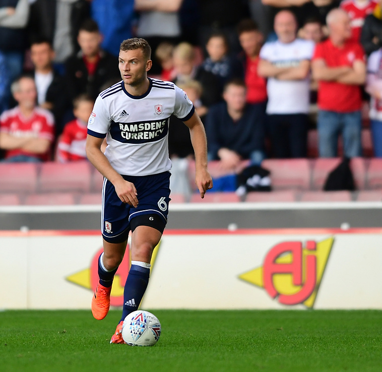 Middlesbrough's Ben Gibson<br /> <br /> Photographer Chris Vaughan/CameraSport<br /> <br /> The EFL Sky Bet Championship - Barnsley v Middlesbrough - Saturday 14th October 2017 - Oakwell - Barnsley<br /> <br /> World Copyright © 2017 CameraSport. All rights reserved. 43 Linden Ave. Countesthorpe. Leicester. England. LE8 5PG - Tel: +44 (0) 116 277 4147 - admin@camerasport.com - www.camerasport.com