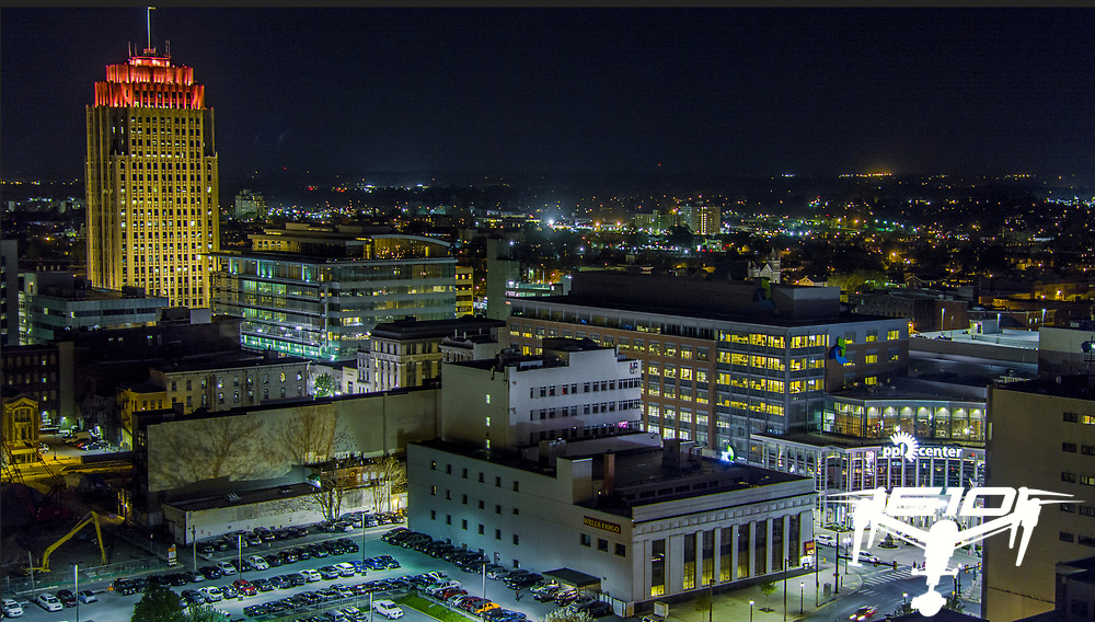Center city Allentown, PA at night.