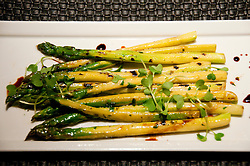 USA Las Vegas, Aria resort on the Strip, with its emphasis on design and outdoor pools. Food design at Sage restaurant, such as foie gras starter, scallops, and asparagus.
