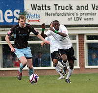 Photo: Mark Stephenson/Richard Lane Photography. <br /> Hereford United v Bury. Coca-Cola League Two. 21/03/2008. Bury's Ben Flutcher tries to go past past Hereford's Theo Robinson