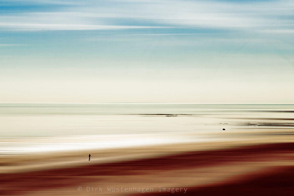 abstract seascape - with alone figure walking