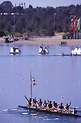 Sydney, AUSTRALIA. GBR M8+, celebrate the  win in the Olympic final,  at  the Olympic Regatta, Penrith Lakes. NSW. Credit [Peter Spurrier/Intersport Images] .... 2000 Olympic Regatta Sydney International Regatta Centre (SIRC) 2000 Olympic Rowing Regatta00085138.tif