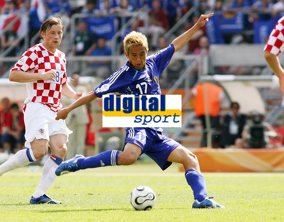 Photo: Chris Ratcliffe.<br /> Japan v Croatia. Group F, FIFA World Cup 2006. 18/06/2006.<br /> Junichi Inamoto of Japan has a shot on goal.