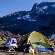 Camp in the Karranga Valley on the Machame Route on Mount Kilimanjaro, Tanzania. The great Western Breach Wall rises behind.