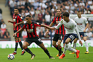 Junior Stanislas of AFC Bournemouth holds off Dele Alli of Tottenham Hotspur.<br /> Premier league match, Tottenham Hotspur v AFC Bournemouth at Wembley Stadium in London on Saturday 14th October 2017.<br /> pic by Kieran Clarke, Andrew Orchard sports photography.