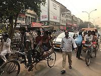 NEW DELHI, INDIA - CIRCA OCTOBER 2016: Street around the spice market and the Chandni Chowk area in Old Delhi.