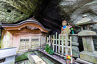 """Iyadanji is most impressive in part because of its massive grounds that have been carved into a mountain, one of those temples with grounds that just keep on going and going. For this reason, many people think of it as the """"cave temple"""".  The peacefulness of the surrounding forest and high elevation reminds many of Mt. Koya. The buddhas that have been carved into the mountain and view from the top of the mountain are most impressive."""