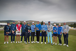 The winning teams line up following the medal presentation, L to R Great Britain 3 (Silver medal) Iceland (Gold Medal) and Sweden 2 (Bronze Medal) during day ten of the 2018 European Championships at Gleneagles PGA Centenary Course.