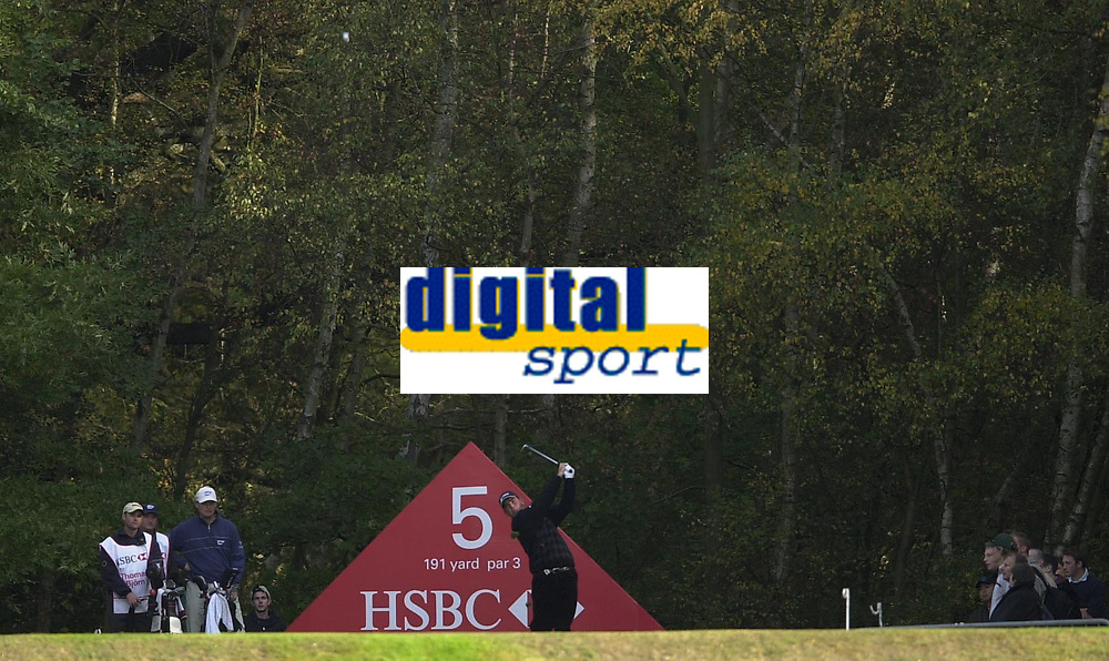 © Peter Spurrier/Sportsbeat Images <br />Tel +441494783165 email images@sbimages.co.uk<br />19/10/2003 - Photo  Peter Spurrier<br />2003 HSBC World Match Play Championship - Wentworth<br />Sunday - Final Day- Ernie Els v Thomas Bjorn:<br />Thomas Bjorn,  plays of the fifth tee.