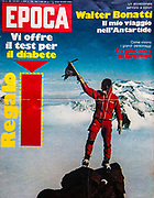 Italian mountaineer Walter Bonatti on summit in Royal Society Range, Transantarctic Mountains during 1976/77 New Zealand - Italian Science and mountaineering expedition. Photo Kiwi guide Gary Ball Epoca magazine cover, June 1977