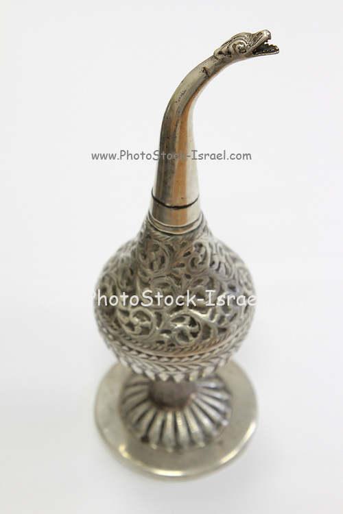 An antique silver bottle, with snake shape head for sparying perfumes in special tradition ceremonies, from Tripoli, libya.