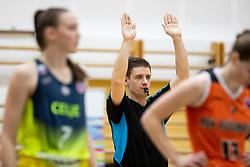 Referee in action during basketball match between ZKK Cinkarna Celje (SLO) and MBK Ruzomberok (SVK) in Round #6 of Women EuroCup 2018/19, on December 13, 2018 in Gimnazija Celje Center, Celje, Slovenia. Photo by Urban Urbanc / Sportida