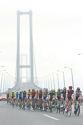 October 14, 2018 - Istanbul, Turkey - Peloton in action near Osmangazi Bridge during the sixth stage - the Salcano Stage 166.7km from Bursa to Istanbul, of the 54th Presidential Cycling Tour of Turkey 2018. .On Sunday, October 14, 2018, in Istanbul, Turkey. (Credit Image: © Artur Widak/NurPhoto via ZUMA Press)