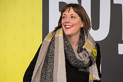 London, UK. 23rd March, 2019. Jess Phillips, Labour MP for Birmingham Yardley, arrives to address a million people taking part in a People's Vote rally in Parliament Square following a march from Park Lane.