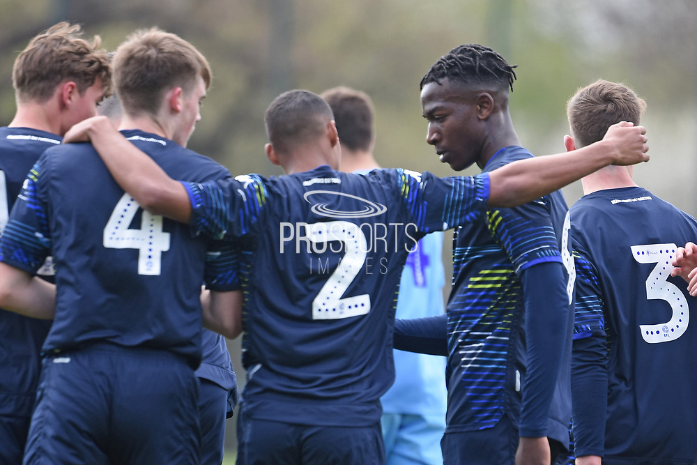 Leeds United forward Henri Kumwenda scores a goal 2-0 and celebrates during the U18 Professional Development League match between Coventry City and Leeds United at Alan Higgins Centre, Coventry, United Kingdom on 13 April 2019.