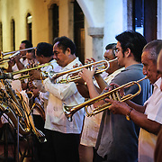 A band performs as part of the celebrations next to main square for the Queen of the Maya 2011 Festival in downtown Valladolid, a colonial town in the heart of Mexico's Yucatan Peninsula.