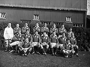 Irish Rugby Football Union, Ireland v France, Five Nations, Landsdowne Road, Dublin, Ireland, Saturday 18th April, 1959,.18.4.1959, 4.18.1959,..Referee- D G Walters, Welsh Rugby Union, ..Score- Ireland 9 - 5 France, ..Irish Team, ..N J Henderson, Wearing number 15 Irish jersey, Full Back, N.I.F.C, Rugby Football Club, Belfast, Northern Ireland, ..A J O'Reilly, Wearing number 14 Irish jersey, Right Wing, Old Belvedere Rugby Football Club, Dublin, Ireland, and, Leicester Rugby Football Club, Leicester, England, ..M K Flynn, Wearing number 13 Irish jersey, Right Centre, Wanderers Rugby Football Club, Dublin, Ireland, ..D Hewitt, Wearing number 12 Irish jersey, Left centre, Queens University Rugby Football Club, Belfast, Northern Ireland,..N H Brophy, Wearing number 11 Irish jersey, Left wing, University College Dublin Rugby Football Club, Dublin, Ireland, ..M A F English, Wearing number 10 Irish jersey, Outside Half, Bohemians Rugby Football Club, Limerick, Ireland,..A A Mulligan, Wearing number 9 Irish jersey, Scrum Half, London Irish Rugby Football Club, Surrey, England, ..B G Wood, Wearing number 1 Irish jersey, Forward, Garryowen Rugby Football Club, Limerick, Ireland, ..A R Dawson, Wearing number 2 Irish jersey, Captain of the Irish team, Forward, Wanderers Rugby Football Club, Dublin, Ireland, ..S Millar, Wearing number 3 Irish jersey, Forward, Ballymena Rugby Football Club, Antrim, Northern Ireland,..W A Mulcahy, Wearing number 4 Irish jersey, Forward, University College Dublin Rugby Football Club, Dublin, Ireland, ..M G Culliton, Wearing number 5 Irish jersey, Forward, Wanderers Rugby Football Club, Dublin, Ireland, ..N Murphy, Wearing number 6 Irish jersey, Forward, Cork Constitution Rugby Football Club, Cork, Ireland,..P J A O' Sullivan, Wearing  Number 7 Irish jersey, Forward, Galwegians Rugby Football Club, Galway, Ireland,..J R Kavanagh, Wearing number 8 Irish jersey, Forward, Wanderers Rugby Football Club, Dublin, Ireland,