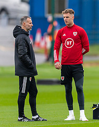 CARDIFF, WALES - Monday, October 5, 2020: Wales' manager Ryan Giggs (L) chats with Joe Rodon during a training session at the Vale Resort ahead of the International Friendly match against England. (Pic by David Rawcliffe/Propaganda)