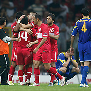 Turkey's Arda TURAN celebrate his goal with team mate during their UEFA EURO 2012 Qualifying round Group A soccer match Turkey betwen Kazakhstan at TT Arena Istanbul September 02, 2011. Photo by TURKPIX