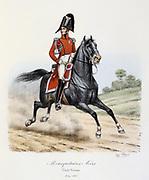 Mounted Black Musketeer, 1814-1815.    From 'Histoire de la maison militaire du Roi de 1814 a 1830' by Eugene Titeux, Paris, 1890.