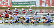 Munich, GERMANY, 02.09.2007,   A Final, GBR W4X lead home the field in the final of the Women's Quadruple Sculls,  Bow, Annie VERNON, Debbie FLOOD, Frances HOUGHTON and Katherine GRAINGER,  at the 2007 World Rowing Championships, taking place on the  Munich Olympic Regatta Course, Bavaria. [Mandatory Credit. Peter Spurrier/Intersport Images]. , Rowing Course, Olympic Regatta Rowing Course, Munich, GERMANY