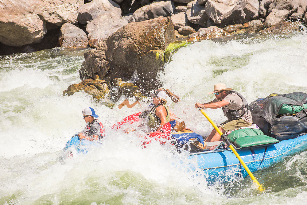 Family in white water rapid Snow Hole while rafting the Main Lower Salmon River, Hammer Creek to Hellar Bar, Idaho. MR