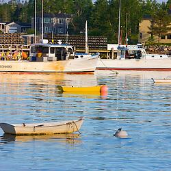 Boats in the harbor in Corea, Maine.
