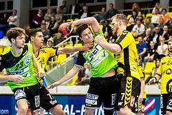 27.04.2018, BSFZ Suedstadt, Maria Enzersdorf, AUT, HLA, SG INSIGNIS Handball WESTWIEN vs Bregenz Handball, Viertelfinale, 1. Runde, im Bild Samuel Kofler (SG INSIGNIS Handball WESTWIEN), Luka Kikanovic (Bregenz Handball), Felix Fuchs (SG INSIGNIS Handball WESTWIEN), Povilas Babarskas (Bregenz Handball) // during Handball League Austria, quarterfinal, 1 st round match between SG INSIGNIS Handball WESTWIEN and Bregenz Handball at the BSFZ Suedstadt, Maria Enzersdorf, Austria on 2018/04/27, EXPA Pictures © 2018, PhotoCredit: EXPA/ Sebastian Pucher