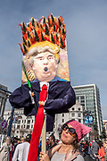"""San Francisco, USA. 19th January, 2019. The Women's March San Francisco begins with a rally at Civic Center Plaza in front of City Hall. A woman proudly displays her humorous three-dimensional sign of Donald Trump holding a rake with blazing trees, in reference to his """"forest raking"""" claims about Finland's forest management during the 2018 California wildfires. Credit: Shelly Rivoli/Alamy Live News"""