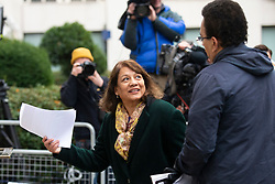 © Licensed to London News Pictures. 16/11/2019. London, UK. Shadow Leader of the House of Commons Valerie Vaz arrives for a Labour NEC meeting at Savoy Place.  Photo credit: George Cracknell Wright/LNP
