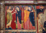 Detail from the twelfth century Romanesque Altar Front of Avia depicting the Annociation of the Virgin and The Visitation with St. Elizabeth, from the church of Santa Maria d'Avia, Spain. National Art Museum of Catalonia, Barcelona. MNAC 15784 .<br /> <br /> If you prefer you can also buy from our ALAMY PHOTO LIBRARY  Collection visit : https://www.alamy.com/portfolio/paul-williams-funkystock/romanesque-art-antiquities.html<br /> Type -     MNAC     - into the LOWER SEARCH WITHIN GALLERY box. Refine search by adding background colour, place, subject etc<br /> <br /> Visit our ROMANESQUE ART PHOTO COLLECTION for more   photos  to download or buy as prints https://funkystock.photoshelter.com/gallery-collection/Medieval-Romanesque-Art-Antiquities-Historic-Sites-Pictures-Images-of/C0000uYGQT94tY_Y