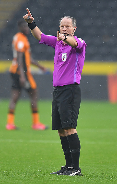 Referee Robert Lewis<br /> <br /> Photographer Dave Howarth/CameraSport<br /> <br /> The EFL Sky Bet League One - Hull City v Plymouth Argyle - Saturday 3rd October 2020 - KCOM Stadium - Kingston upon Hull<br /> <br /> World Copyright © 2020 CameraSport. All rights reserved. 43 Linden Ave. Countesthorpe. Leicester. England. LE8 5PG - Tel: +44 (0) 116 277 4147 - admin@camerasport.com - www.camerasport.com