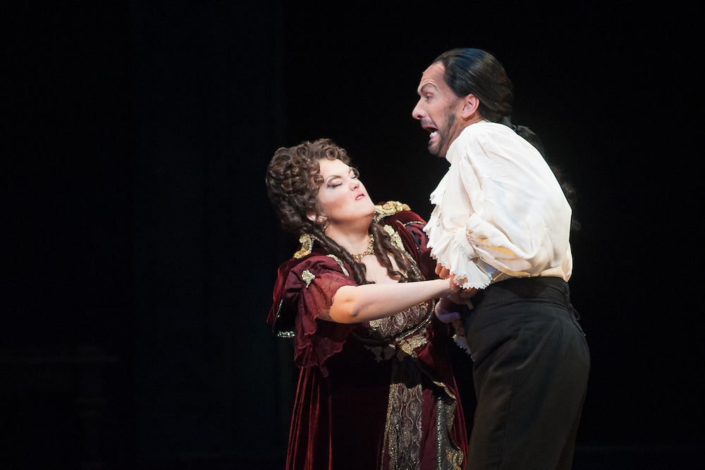 A scene from the final dress rehearsal of  Austin Lyric Opera's production of Puccini's Tosca.  Mark Matson for ALO ( 1/28/14)