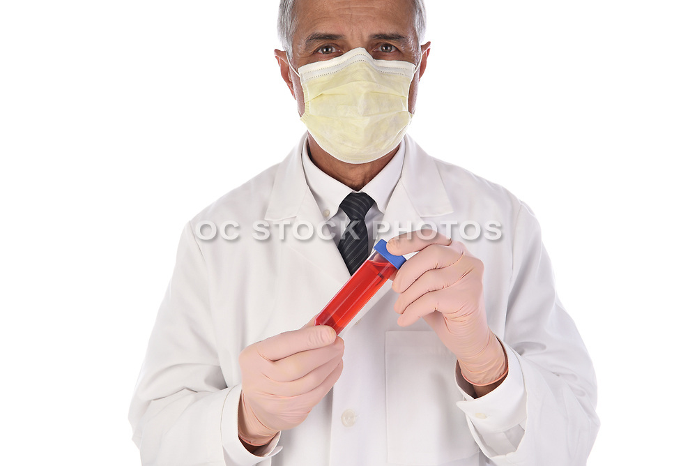 Laboratory Technician Holding a Vial of Red Liquid