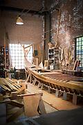 Interior of a Gondola workshop. Giudecca district. Venice, Italy, Europe
