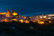 A night view of the village of Pisticci, Italy. Pisticci is a town in the province of Matera, in the Southern Italian region of Basilicata.