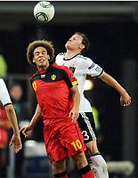 Fotball , 11. oktober 2011 - Tyskland - Belgia , EM-kvalifisering<br /> <br /> v.l. Axel Witsel, Benedikt Hoewedes (Deutschland)<br /> <br /> Norway only