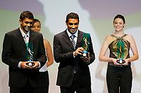"20091207: RIO DE JANEIRO, BRAZIL - Brazilian Football Awards 2009 (""Craque Brasileirao 2009""), held at the Museum of Modern Art in Rio de Janeiro. In picture: L-R - Danilo (Palmeiras, 2nd) and Andre Dias (Sao Paulo) - Best right defender - right side. PHOTO: CITYFILES"