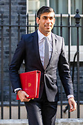 The Ex-chequers Chancellor Rishi Sunak leaves from Number Ten in Downing Street on Tuesday, 21 July 2020 – to attend a Cabinet meeting for the first time since the lockdown to be held at the Foreign and Commonwealth Office (FCO) in London. (VXP Photo/ Vudi Xhymshiti)