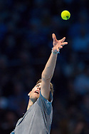 Dominic Thiem of Austria serves during the Nitto ATP World Tour Finals at the O2 Arena, London, United Kingdom on 13 November 2018.Photo by Martin Cole