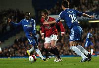 Photo: Tony Oudot.<br /> Chelsea v Manchester United. The Barclays Premiership. 09/05/2007.<br /> Ole Gunnar Solskjaer of Man Utd goes past Ben Sahar and John Terry of Chelsea