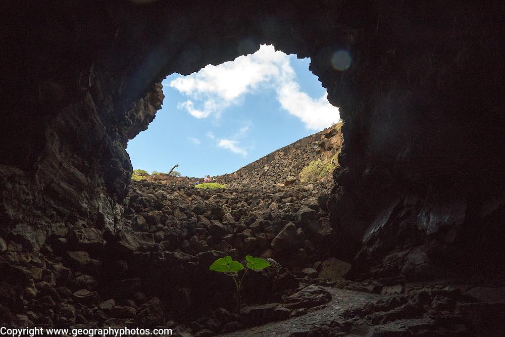 Entrance Cueva de Los Verdes, cave tourist attraction in lava pipe tunnel, Lanzarote, Canary Islands, Spain