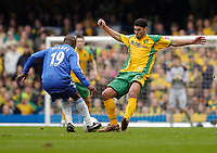 Photo: Leigh Quinnell.<br /> Chelsea v Norwich City. The FA Cup. 17/02/2007.<br /> Norwichs' Youssef Safri launches a flying challenge on Chelseas Lassana Diarra.