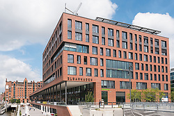 View of new office block occupied by Greenpeace at Elbtorpromenade and Elbarkaden new property developments in Hafencity Hamburg Germany