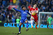 Armand Traore of Cardiff city (l) challenges Stewart Downing  of Middlesbrough. EFL Skybet championship match, Cardiff city v Middlesbrough at the Cardiff city Stadium in Cardiff, South Wales on Saturday 17th February 2018.<br /> pic by Andrew Orchard, Andrew Orchard sports photography.